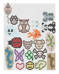 Animals peyote stitched charms patterns