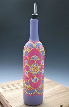 Hand painted olive oil bottle