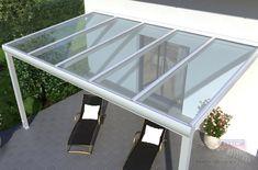 Alu-Terrassendach REXOpremium inklusive VSG-Glas, weiß. Glass Roof, Aluminium, Pergola, Dining Table, Outdoor Decor, Montage, Inspiration, Furniture, Home Decor