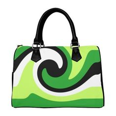 Green Black White Boston Handbag (Model 1621) Atelier Briella ($33) ❤ liked on Polyvore featuring bags, handbags, white and black handbags, man bag, hand bags, black white purse and handbag purse
