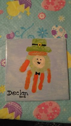 We did hand and foot print tiles with my son's Daycare class for St.  Patrick's day.  With The Painted Turtle Pottery Studio