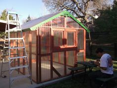 Greenhouse with clear corregated fiberglass.