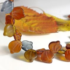 Mix of matt leaf picasso beads - gray and brown, 10х12 mm