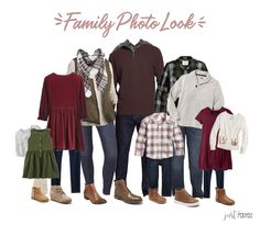 Looking & planning for what to wear for Family Pictures? Here is the great entire look featuring reds, greens & plaids! It's a wonderful coordinating look for family photos and so easy to be mixed and matched! This would be so cute for Christmas pictures Fall Family Picture Outfits, Winter Family Pictures, Family Pictures What To Wear, Family Portrait Outfits, Christmas Pictures Outfits, Family Picture Colors, Fall Family Portraits, Colors For Family Pictures, Family Posing