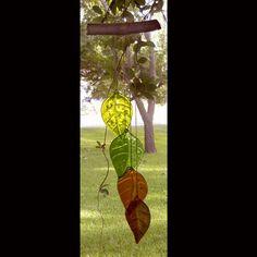 4 Leaf Fused Glass Windchime on Etsy, $48.00