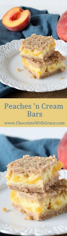 Simple Peaches and Cream Bars with fresh peaches, creamy custard and a brown sugar crumb crust.