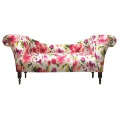 "Settee with floral upholstery. Handmade in the USA. Product: Settee   Construction Material: Solid pine frame, polyurethane foam and polyester fill foam   Color: Rosie raspberry    Features: Tufted    Dimensions: 33"" H x 74"" W x 27"" D    Cleaning and Care: Spot clean only"