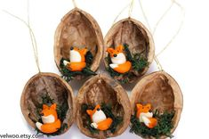fox Christmas Ornaments, Animal Christmas Ornaments, , walnut shell ornament , Nature Gift, woodland ornament,