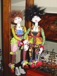 "My first ever cloth doll, Maddie, on the left - with her bestest friend Precious on the right!  My first few dolls were made using Patti Culea's ""Radical Rachel"" pattern."