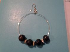 Black and Silver Beaded Hoop Earrings | LOVE33 - Jewelry on ArtFire