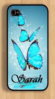 Apple iPhone 4 4s or 5 5s Personalized Monogrammed case Blue Butterfly Case #iphonecase