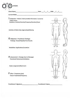 Body pain indicator chart printable medical form free to for Free massage soap notes template