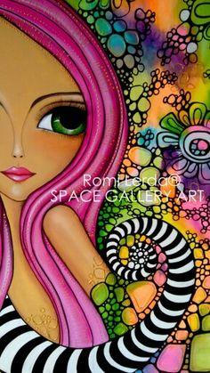 ROMI LERDA. ARTISTA PLÁSTICA ARGENTINA Arte Popular, Whimsical Art, Fabric Painting, Portrait Art, Face Art, Art Pictures, Bunt, Cool Art, Art Drawings