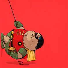 Boy Wonder | Morbidly obese versions of iconic pop culture characters by Alex Solis