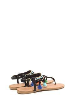 955b7d83e331d8 Boho Travel Embellished T-Strap Sandals BLACK - GoJane.com