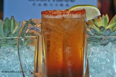 Michelada Cubana - Beer with worcestershire, tabasco and lime juice in a chili-salted glass
