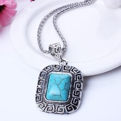 Chain Vintage Geometric Turquoise pendant necklace Ancient Silver Plated