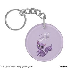 Monogram Purple Kitty Keychain