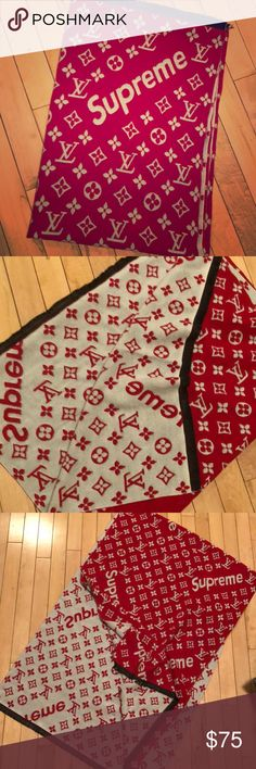 ‼️Louis Vuitton/ Supreme scarf‼️ Louis Vuitton/ Supreme INSPIRED scarf! Only used once! Beautiful quality, red& white reversible! Oversized!  **NOT AUTHENTIC, but extremely well made for a knockoff!  ** 73in length  ** 25in width Louis Vuitton Accessories Scarves & Wraps