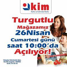Turgutlu'ya Kim Geliyor! Türk perakendeciliğinin parlayan yıldızı Kim Marketleri Turgutlu'ya yatırım ve istihdam için geliyor. Kaliteyi İndirimli fiyatlardan almak isteyen tüm Turgutlu halkını 26 Nisan Cumartesi günü Yılmazlar Mah Atatürk Bulvarında ki mağazamızın açılışına bekliyoruz...