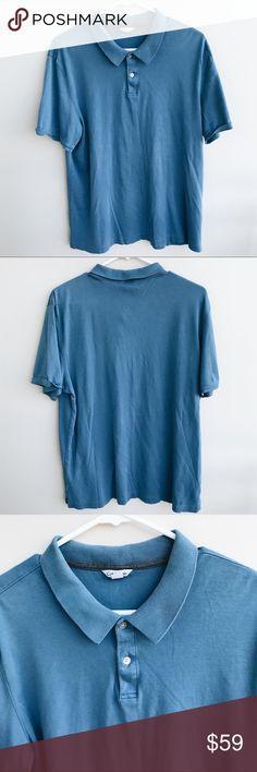 📖 CALVIN KLEIN BLUE POLO SHIRT 📖 CALVIN KLEIN BLUE POLO BUTTON SHIRT / CONDITION IS USED BUT VERY GOOD / SIZE : LARGE Calvin Klein Shirts Polos