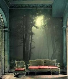 I don't like the couches, but I absolutely love this wall. Mural... It reminds me of LOTR