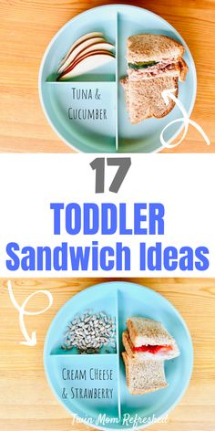 Easy toddler sandwich ideas that are good for school or daycare lunches. These easy sandwiches are healthy and quick to make! 17 sandwich ideas to give you inspiration for your toddler lunches or dinners! Toddler Sandwiches, Healthy Sandwiches, Sandwiches For Lunch, Quick Sandwich, Healthy Toddler Meals, Toddler Lunches, Kids Meals, Toddler Dinners, Toddler Food