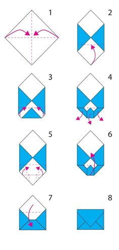 folding origami envelope, the steps for constit . - Informations About folding origami en Envelope Diy, How To Make An Envelope, How To Make Envelopes, Diy Envelope Tutorial, Making Envelopes, Fold Paper Into Envelope, Heart Envelope, Envelope Design, Instruções Origami