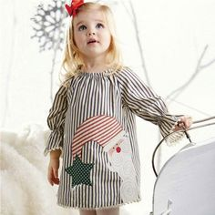 6c2c0f9bd Christmas Santa Claus Kids Baby Girls Clothes Tops Striped Princess Dress