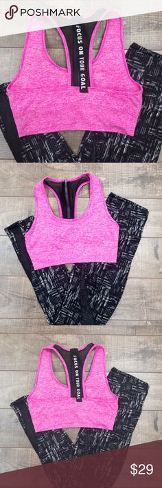 "Pink Sports Bra Super comfy! Long zipper, so you can zip up yourself 😊 Cute ""Focus on your goal quote"" 😘 No trades. Kyoot Klothing Intimates & Sleepwear Bras"