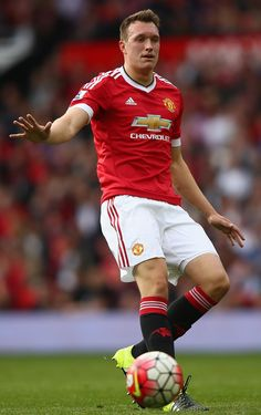 Phil Jones of Manchester United on the ball during the Barclays Premier League match between Manchester United and Sunderland at Old Trafford on September 2015 in Manchester, United Kingdom. Phil Jones, Barclay Premier League, Premier League Matches, Old Trafford, Sunderland, Manchester United, Running, Sports, Hs Sports
