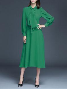 #AdoreWe #StyleWe ROEYSHOUSE Green Casual A-line Plain Midi Dress - AdoreWe.com