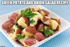 Patates Ke Kremidia Sta Karvouna - Greek Potato and Onion Salad Recipe Greek Potato Salads, Greek Salad Recipes, Greek Style Potatoes, Greek Menu, Greek Cooking, Cooking Light, Onion Salad, Greek Dishes, Mediterranean Diet Recipes