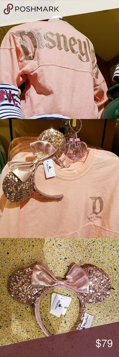 Disneyland Rose Gold Spirit Shirt Brand New Disney Parks Disneyland Resort Rose Gold Spirit Jersey - They run big to be worn flousy. **SHIRT ONLY** Rosegold Ears sold in other lising Shirt Available Sizes: XS Small Medium Large X Large 2X Large The prettiest item at the parks! They are selling out. I get them straight from Disneyland ;) DISNEY Tops Tees - Long Sleeve Disney Dream, Disney Style, Disney Magic, Disney Land, Disney World Merchandise, Disneyland Trip, Disneyland Resort, Disneyland California, Disney Tops