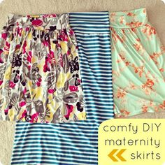 comfy DIY maternity skirts by CINO... You know. It might be nice at a baby shower thats held early on in the pregnancy, to make the mother some of these skirts and include them in the gift.