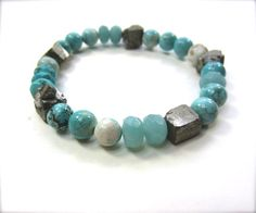 Turquoise bracelet with pyrite nuggets. Bohemian stretch beaded bracelet. Stacking gemstone bracelet.