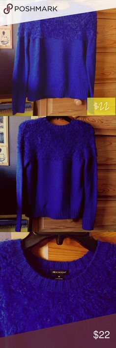 I Heart Ronson Fuzzy Blue Crew Neck Sweater Royal blue crew neck sweater with fuzzy top section by I Heart Ronson. The bottom of the sweater as well as the sleeve openings are ribbed to allow stretch. Gently used, in great condition. I Heart Ronson Sweaters Crew & Scoop Necks