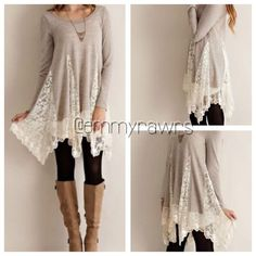 Coming Soon- The ELIZABETH Laced Tunic Be effortlessly chic in this flirtatious laced tunic! Perfect with leggings and boots! Material: cotton blends. Tops Tunics