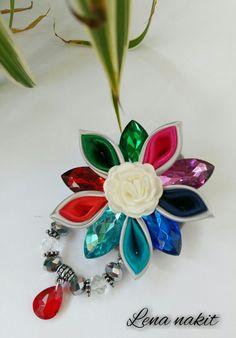 Colourful kanzashi flower brooch