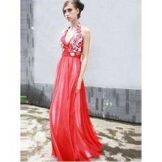 Ausgefallene Neckholder Abendkleider Rot lang