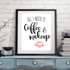 All I need is coffee and makeup Bathroom decor by CoolStudioArt Home Decor Colors, Colorful Decor, House Colors, Autumn Decorating, Fall Decor, Interior Decorating, Decorating Ideas, Office Interior Design, Bathroom Interior Design