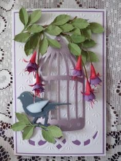3D Bird at Birdcage Card with Hanging Fuchsia
