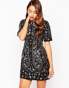 ASOS All Over Embellsihed Shift Evening Dress in Black UK 14/EU 42/US 10