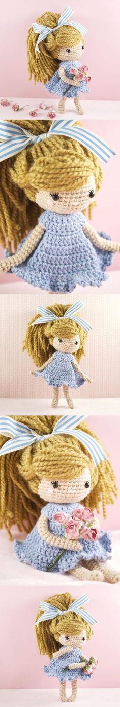 Emmy-Lou doll amigurumi pattern by LittleAquaGirl Crochet Fairy, Cute Crochet, Knit Crochet, Amigurumi Doll, Amigurumi Patterns, Doll Patterns, Knitted Dolls, Crochet Dolls, Crochet Doll Pattern