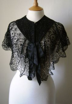Antique Edwardian Victorian Beaded Lace Caplet by Cabinet49, $63.00