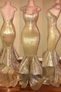 Looking for the latest Gold Spaghetti Straps Layers-Train Sequins Mermaid Shiny Long Prom Dresses Cheap online? Find your Spaghetti Straps Sleeveless Mermaid prom dresses available in standard size & plus size styles from Newarrivaldress. Gold Prom Dresses, Prom Dresses 2018, Prom Dresses For Sale, Mermaid Prom Dresses, Cheap Dresses, Wedding Dresses, Prom Gowns, Formal Dresses, Glam Dresses