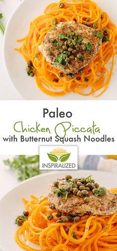 Paleo Chicken Piccata with Butternut Squash Noodles Recipe