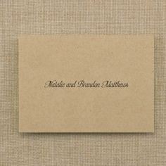Thank You Note and Envelope - Kraft | KSW Exclusive Invitations