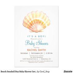 Beach Seashell Boy Baby Shower Invitation