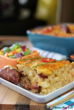 Samp, Chorizo & Cheddar Bake – Close up, side view